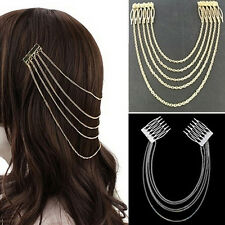 Women's Fashion Gold Metal Head Chain Leaves Comb Headband Headpiece Hair Band H