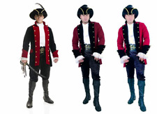 ADULT MENS COLONIAL PIRATE PRINCE CAPTAIN VELVET COSTUME COAT JACKET BLACK RED