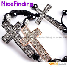 Hematite Rhinestone Crystal Cross Adjustable Bracelet Jewelry For Men Women Gift