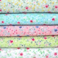 MINI GIGI - TINY FLORAL GINGHAM POLY COTTON FABRIC pink blue green white