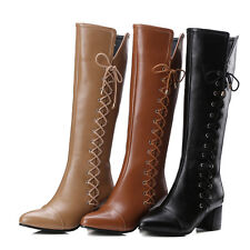 Womens Synthetic Leather Shoes Pointed Toes Square Heel Zipper Knee Boots UKB546
