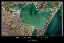 Corpus Christi Bay Texas From Space Satellite Poster Map