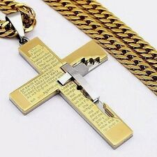 Mens Gold Flat Curb Tone Link Chain Stainless Steel PENDANT NECKLACE 18-36inch