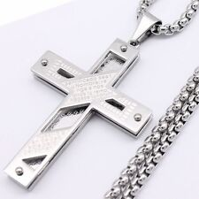 Silver Men Box Link Chain 316L Stainless Steel Pendant Necklace 18-36inch 4mm
