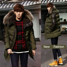 2016 Mens Winter Medium Large Hoodie Hooded Parka Ski Warm Wool Coat Overcoat
