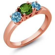 1.16 Ct Round Green Chrome Diopside Swiss Blue Topaz 14K Rose Gold Ring