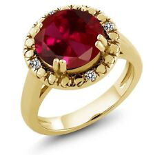 4.05 Ct Round Red Created Ruby White Diamond 18K Yellow Gold Plated Silver Ring