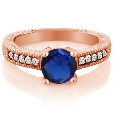 1.82 Ct Round Blue and White Created Sapphire 18K Rose Gold Plated Silver Ring