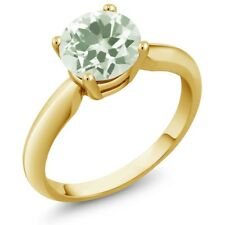 1.10 Ct Round Green Amethyst 18K Yellow Gold Ring