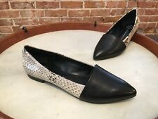 Isaac Mizrahi Black Leather & Snake Pointed Toe Flats Danielle NEW