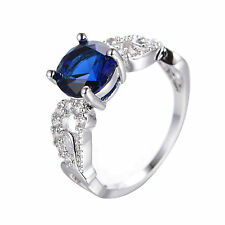 Blue Sapphire Band Womens 10Kt White Gold Filled Engagement Party Ring Size 6-11