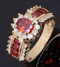 Size 7,8,9,10,11 Jewelry Woman's AAA Red Garnet 18K Yellow Gold Filled Ring Gift