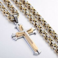 Gold Silver Mens Chain Cross Byzantine Stainless Steel PENDANT NECKLACE 18-36''