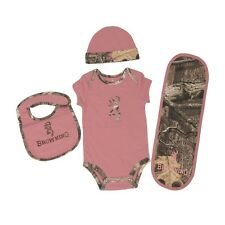 BROWNING BUCKMARK ROSE PINK MOSSY OAK CAMO BABY CLOTHES INFANT SET - 4 PC