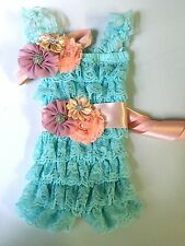 Vintage Girl Posh Petti Ruffle Romper baby girl romper headband sash kids sizes