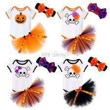 Halloween 3PCS Infant Girl Baby Romper Headband Outfit Fancy Cosplay Costume New