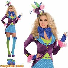 SEXY MAD HATTER ALICE IN WONDERLAND ADULT UK 8-16 Ladies Fancy Dress Costume