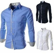 Fashion Mens Luxury Stylish Casual Dress Slim Fit T-Shirts Casual Long Sleeve LD