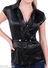 Black Satiny Ruffle Front Cap Sleeve Belted Plus Top