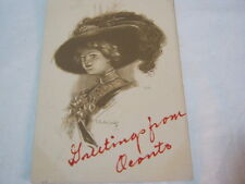Lady wearing large feathered hat Greetings from Oconto Wi Postcard   T*