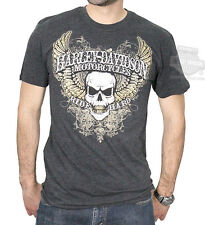 Harley-Davidson Mens Skull Chemistry Winged Skull Charcoal Short Sleeve T-Shirt