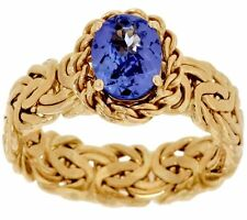 1Ct Natural Oval Tanzanite Gemstone Byzantine Band Ring Real 14K Yellow Gold QVC