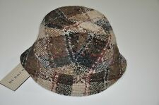 NWT $250 BURBERRY 100% WOOL BROWN CHARCOAL NOVA CHECK LONDON BUCKET HAT