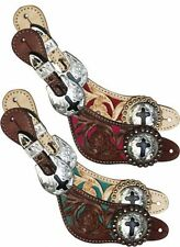 Showman Light Medium Oil Tooled Inlay Pink Teal Leather Spur Straps Cross Concho