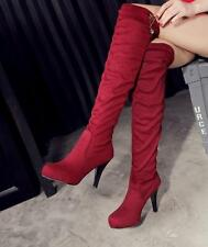 New Womens Stilettos High Heels Shoes Slouch Faux Suede Pull On Knee High Boots