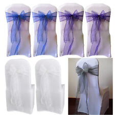 25x Organza Chair Cover Sashes Bow for Wedding Party Birthday Decoration