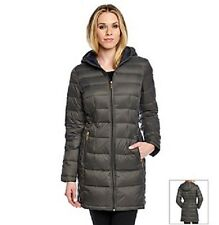 MICHAEL KORS Rock Gray 3/4 Down Hooded Packable Jacket Puffer Brand New