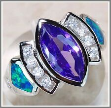 Amethyst & Australian Opal Inlay White Topaz 925 Solid Sterling Silver Ring Sz6