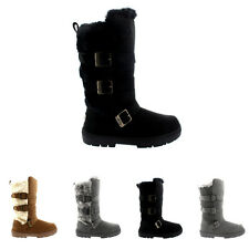 Womens Triple Buckle Fur Lined Waterproof Winter Snow Long Mid Calf Boot UK 3-10