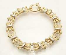 Ribbed Papillion Bound Link Bracelet Real 14K Yellow White Two-Tone Gold QVC