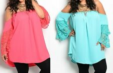 Off Shoulder Semi Sheer Chiffon Tier Lace Sleeve Plus Blouse Tube Top