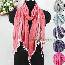 Women's Fashion Long Scarf Rose Lace Stitching Cotton Scarves Pom Pom Tassel New