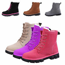Women's Ladies Flat Lace Up Fur Lined Winter Martin Boots Snow Ankle Boots Shoes