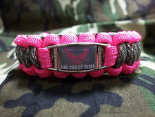 Custom United States Air Force WIFE Paracord SURVIVAL Bracelet w Buckle USAF
