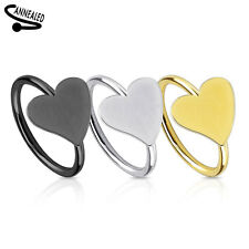 Gold Ion Plated 316L Surgical Steel Annealed Nose Ring with Heart Design 20g