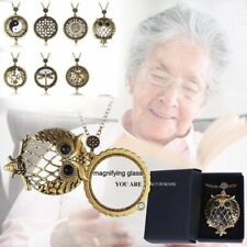 Vintage Chain Magnifying Glass New Necklace Pendant Grandma Gift +Free Black Box