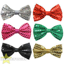 SEQUIN BOW TIE FANCY DRESS ACCESSORY GLITTER DICKIE BOW MENS FASHION NECK TIE