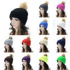 Winter Braided Crochet Wool Knit Beanie Beret Ski Ball Cap Baggy Women Hat e