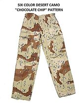 Six Color Chocolate Chip DESERT Camo BDU Cargo Pants Military Army Marines S-2X