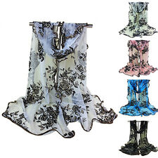 Women Girl Flower Floral Print Tulle Scarf Long Soft Stole Wrap Shawl Bluelans