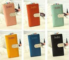 Ladies Cute Polka Dot Paragraph Multi-card Bit Long Retro Zipper Wallet TS