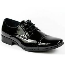 Black Patent Boy's Kids Lace Up Cap Toe Oxford Dress Shoes Conal