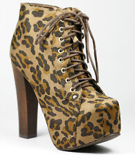 Black Brown Leopard Faux Suede Chunky Heel Lace Up Platform Ankle Bootie Boot