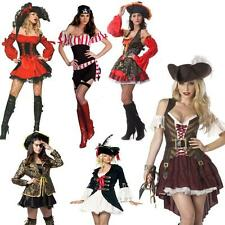Sexy Caribbean Pirate Ladies Costume Fancy Dress Up Halloween Cosplay & Hat hot