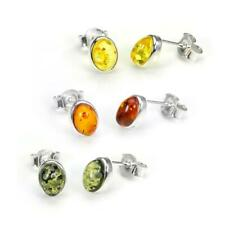 Small 925 Sterling Silver & Baltic Amber Oval Stud Earrings - 3 Colours