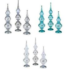 Set of 3 Illuminated Frosted Finials by Valerie.  Silver, White Frost, Icy Blue